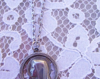 Vintage Sterling Silver 30 Inch Chain and Round Silver Catholic Nun Pendant