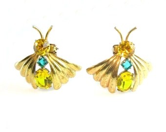 Retro Butterfly Brooch. Dress Clip Set. Gold over Sterling Insect Bugs.  Vintage 1940s Art Deco Coat Clip Jewelry.