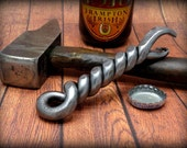 TWISTED BOTTLE OPENER - Personalized Option Available - Hand Forged  by  Naz - Groomsmen Gifts -  for Him -  Groomsman - Men Father -  Beer