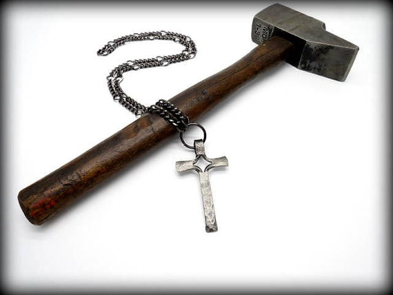 CROSS PENDANT ( Medium Size) Necklace Hand Forged and Signed by Blacksmith Naz