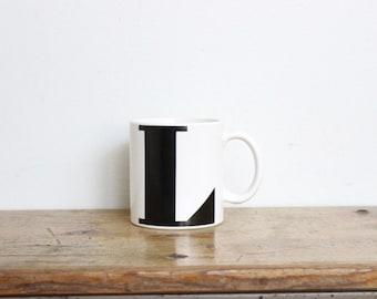 Vintage Letter L Coffee Mug Tea White 70s 80s