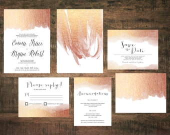 printable rose gold wedding invitation invitation suite wedding set blush wedding rose - Rose Gold Wedding Invitations