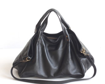 MADE TO ORDER. Black Leather Satchel Bag. Womens Leather Handbag. Black Leather Shoulder Bag. Slouchy Hobo Handbag. Cross body Strap Bag.