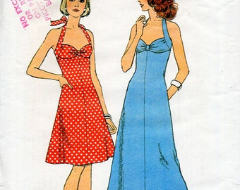 1970s Halter Dress Pattern in Two Lengths Style 4637 Vintage Sewing Pattern Bust 36 Maxi or Knee Length Flared Summer Sundress