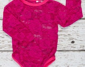 Lace bodysuits- Baby Lace crawler - Long Sleeve Lace Body Suit - Pink Lace bodysuit - Infant lace one piece- toddler lace bodysuit- baby