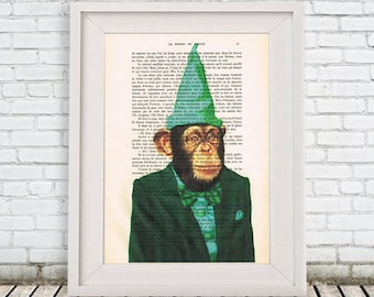 Monkey Print, Drawing Illustration Animal painting Giclee Prints, Green, Wall Art Prints Posters Acrylic Painting Portrait painting