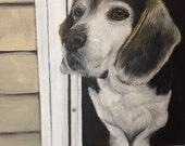 Custom beagle painting from photo on canvas hand painted dog portrait art