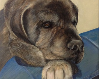 Mastiff gift custom painting from photo on canvas hand painted dog portrait art