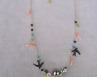 Petite n Delicate Love Bird Enameled Necklace