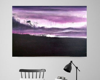 Abstract Painting on Canvas, Original Painting, Purple Painting, Contemporary Painting, Minimalist Landscape, 36x24 Heather Day Paintings