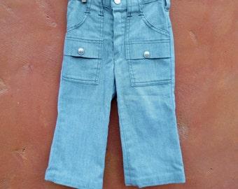 Vintage Toddler Boy's Sears Rough Housers 1960s 1970s Jeans Denim Pants. Light Teal Blue. 3T