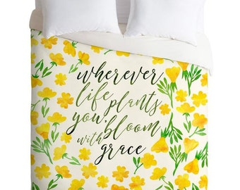 Duvet Cover ~ Bloom with Grace yellow flowers pattern duvet cover, christmas gift for daughter, birthday gift idea, unique dorm bedding set
