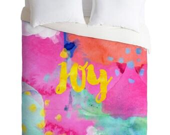 Oui Joy duvet cover fuchsia pink teal gold bedding set, positive affirmation home decor, Birthday gift idea for daughter dorm decor bedding