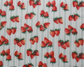 Strawberries and Green Striped Fabric