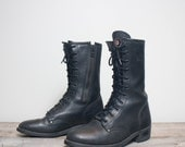 9 | Women's Vintage Harley Davidson Zippered Motorcycle Boots Black Leather Boots