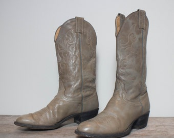 8 B | Women's Gray Western Cowboy Boots by Nocona