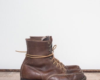 8 E | Men's Vintage Hy-Test Steel Toe Work Boot in Brown Leather
