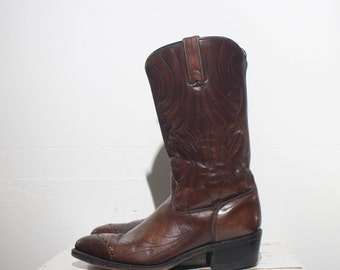 9 D | Men's Acme Stock Show Cowboy Boots Feather Stitch Braided Wing Tip Western Boot
