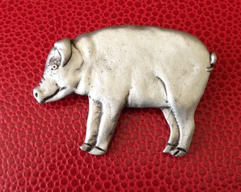 That'll Do Pig signed Pewter Brooch
