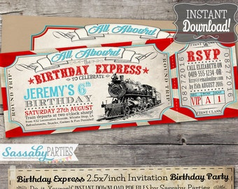 Birthday Express Invitation - INSTANT DOWNLOAD -  Editable & Printable Train, Locomotive, Choo Choo, Railway, Boys Birthday Party Invitation