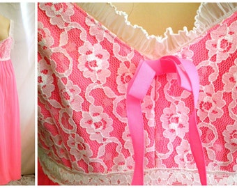 1960's Vintage Nightgown Hot Pink and White Nylon Vintage Lingerie Boudoir Old Hollywood S 36 bust