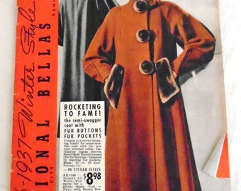 Vintage 1930's Catalog 1936-7 National Bella Hess Winter Style Hits Fashion History