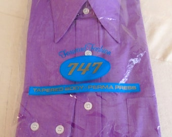 Vintage Man's Shirt 1970's Deadstock Shirt Purple Butterfly Collar Mod Disco Medium