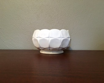 Vintage White Milk Glass Candy Dish / Milk Glass Bowl / Milk Glass Serving Dish / Mid Century Modern Ceramic Bowl / White Pottery