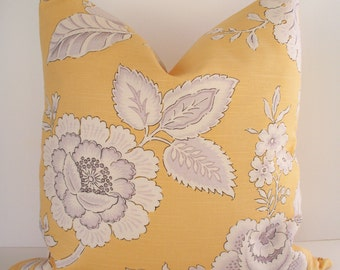 Yellow Gold Floral Pillow JAY YANG BENGAL Both Sides Asian Inspired Floral Design