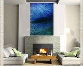 Solace Blue Original Painting Large Canvas Art Modern Abstract 36 x 48 40 x 60 Indigo Navy Green Landscape Seascape