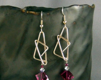 Wirewrapped Earrings, 14k Gold Filled Wire, Fuchsia Swarovski Cubes, 14k Gold Filled French Earwires - Hand Crafted Artisan Jewelry