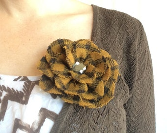 Orangish brown and black check brooch pin in wool fabric, handmade