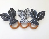 All Natural Bunny Ear Maple Teething Ring- You choose print - Gray, Grey, Arrow, Aztec, Triangle