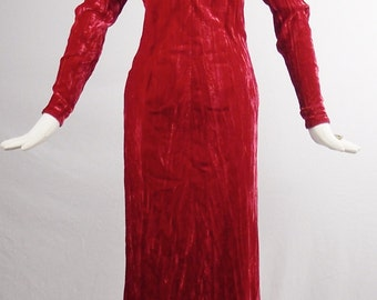 Dramatic Vintage YVES SAINT LAURENT Off the Shoulder Ruby Red Crushed Velvet Full Length Evening Gown Size 36