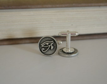 Eye of Horus Cufflinks Egyptian Cuff Links - made with metal buttons