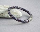 Mens Leather Bracelet, Braided Bracelet, Boyfriend Gift, Custom Size, Men's Leather Jewelry, Jewelry for Him