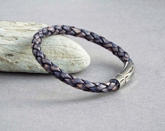 Mens Bracelet, Braided Leather Bracelet, Blue Leather, Boyfriend Gift, Custom Size, Men's Leather Jewelry, Jewelry for Him