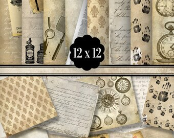 Detective Paper Pack 12 x 12 inch printable paper crafting scrapbooking instant download digital paper collage sheet - VDPAVI1303