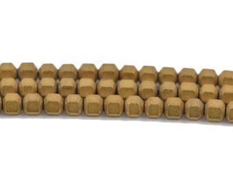 3mm Matte Dark Gold HEMATITE HEXAGON Beads, Titanium coated gemstone beads, full strand, 150 beads, ghe0123