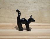 Miniature Halloween Black Cat Sculpture, Halloween Cat Figurine, miniature cat #16