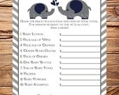 Price is right Baby Shower Game, Navy Elephants  - INSTANT Download - 5x7, Elephant, Navy, Gray, Price is Right, 1PDF and 1JPEG, 1398, 1265