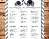What's in your purse Baby Shower Game, Navy elephants purse game, INSTANT Download - 5x7, Navy elephants, chevron stripes, 1398, 1265