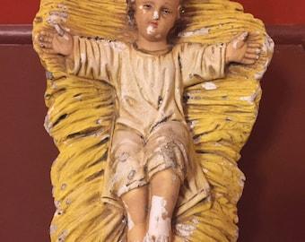 Chalkware Jesus large Nativity chalk ware Jesus statue Baby Jesus in manger old Jesus decor large Jesus figurine Jesus vintage religious