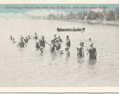 Old Fashioned Dip in the Pond Fun Vintage Postcard Featuring a Fun Photograph of Swimmers and a Canoe