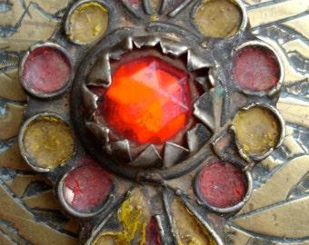 Moroccan red enamel fibula pendant brooch