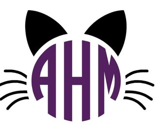 Cat Monogram Decal, Monogram Panther Face decal, Personalized Cat Decal, Cat Sticker, Vinyl Decal, Car Decal, Car Sticker, Yeti Decal