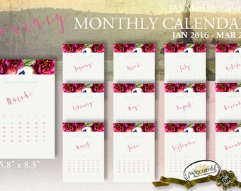 JOURNEY   Monthly Calendars   Printable   A5 5.8 x 8.3   January 2016 thru March 2017 by Papier Creatif