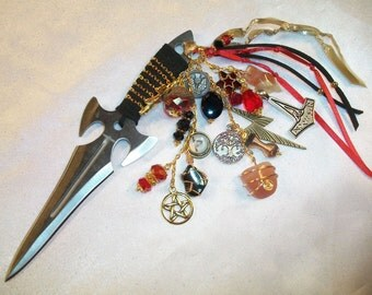 Thor  Embellished Athame - Several Blade Styles/Sizes - Carnelian, Red Agate, Hematite
