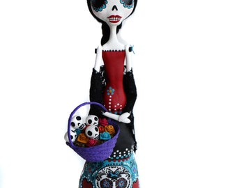 Day of the Dead Art - Dia de los muertos - Sugar Skull - Mexican Folkart - Made to Order