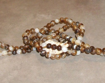 Brown Striped Agate - 6 mm  round beads- full strand